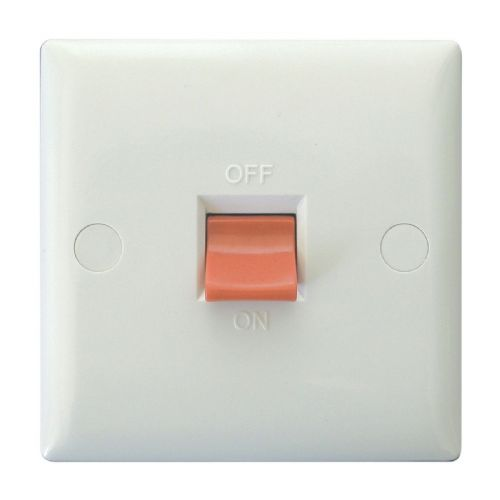 Varilight XO45SW Value Polar White 45A DP Cooker Switch Single Plate
